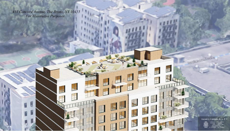 Aerial rendering of rooftop amenity space at 431 Concord Avenue - Gerald J. Caliendo Architect