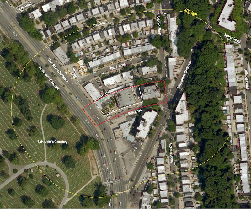 Aerial view of existing conditions at 68-19 Woodhaven Boulevard