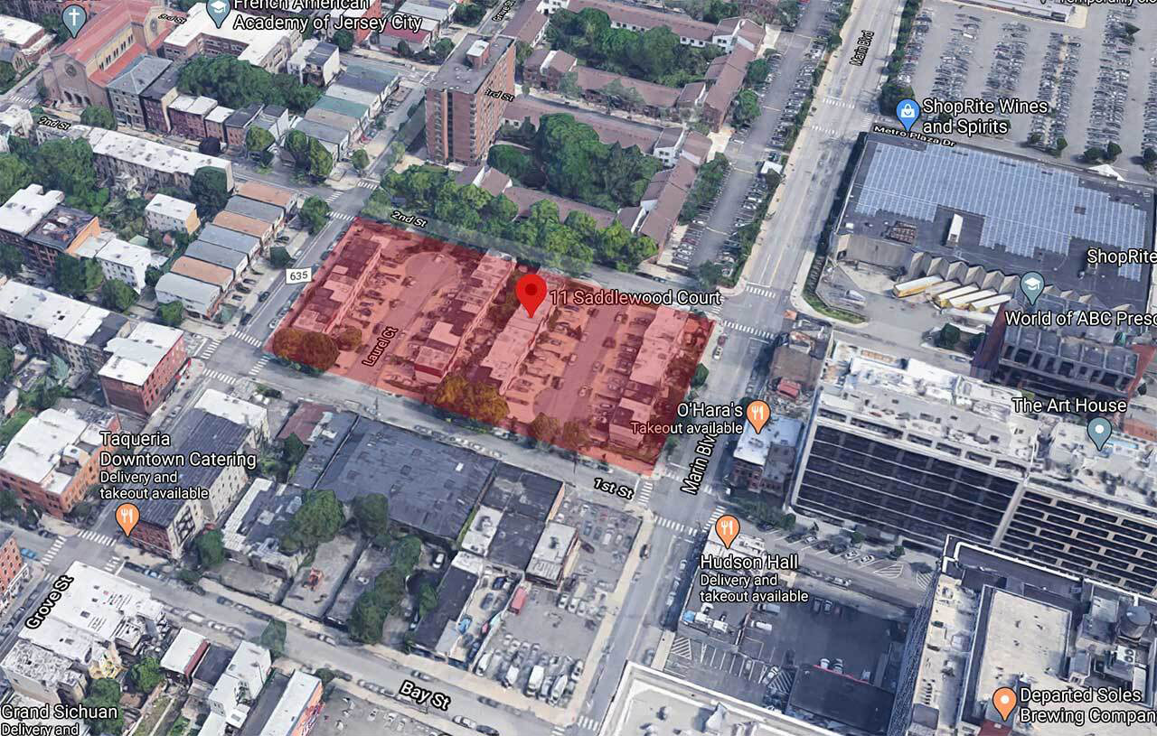 Aerial view of existing townhouse properties that will be replaced as part of the Laurel-Saddlewood Redevelopment Plan