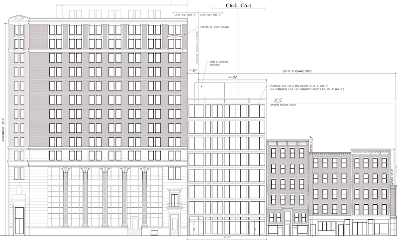 Elevation map illustrates proposed new building at 23-25 Cleveland Place