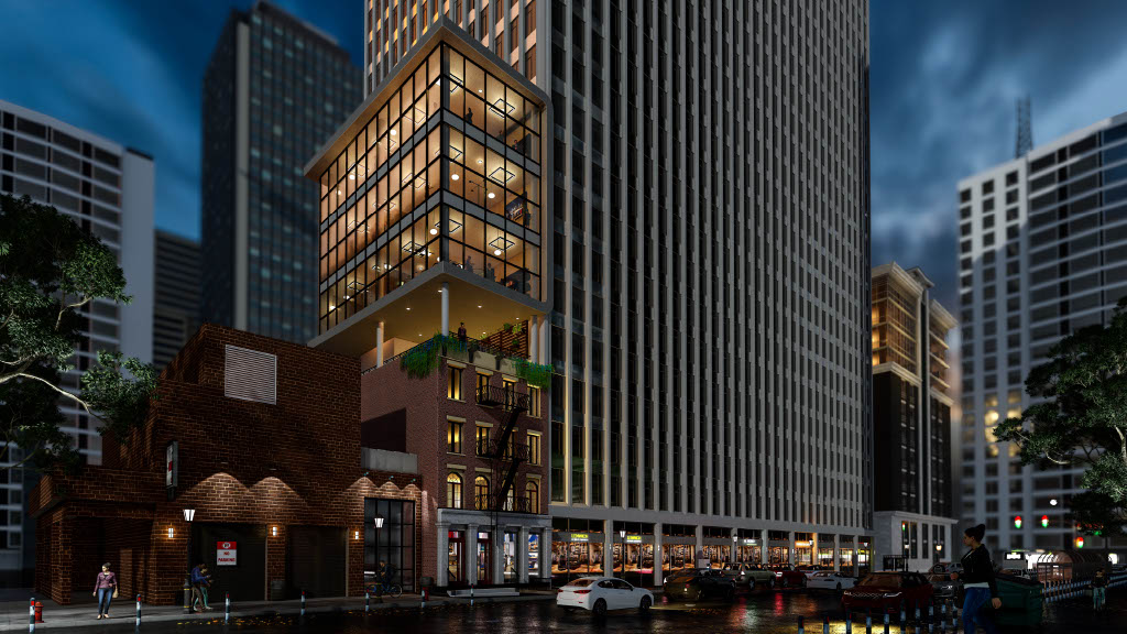 Evening rendering of 126 Pearl Street - Rise Architecture
