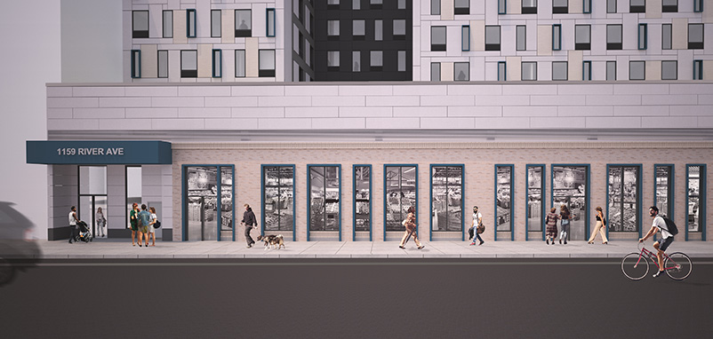 Grocery store exterior facade at the ground floor of 1159 River Avenue - Urban Quotient