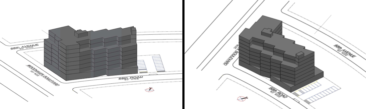 Illustrations reveal proposed massing at 68-19 Woodhaven Boulevard - Gerald Caliendo Architect