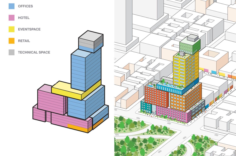 Massing diagram illustrates programming within Radio Tower & Hotel - MVRDV