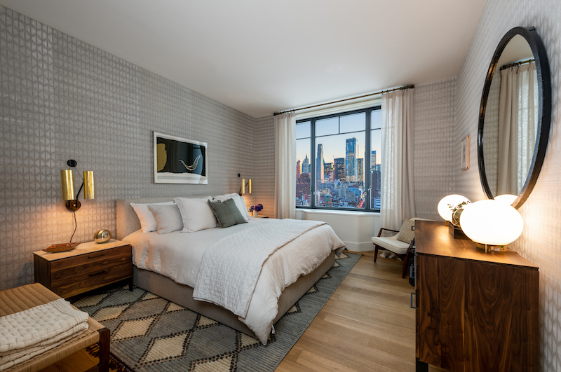 Model apartment bedroom at Greenwich West - Photo by Alan Tansey