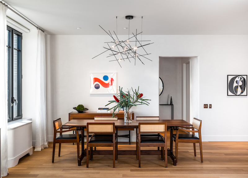 Model apartment dining room at Greenwich West - Photo by Alan Tansey