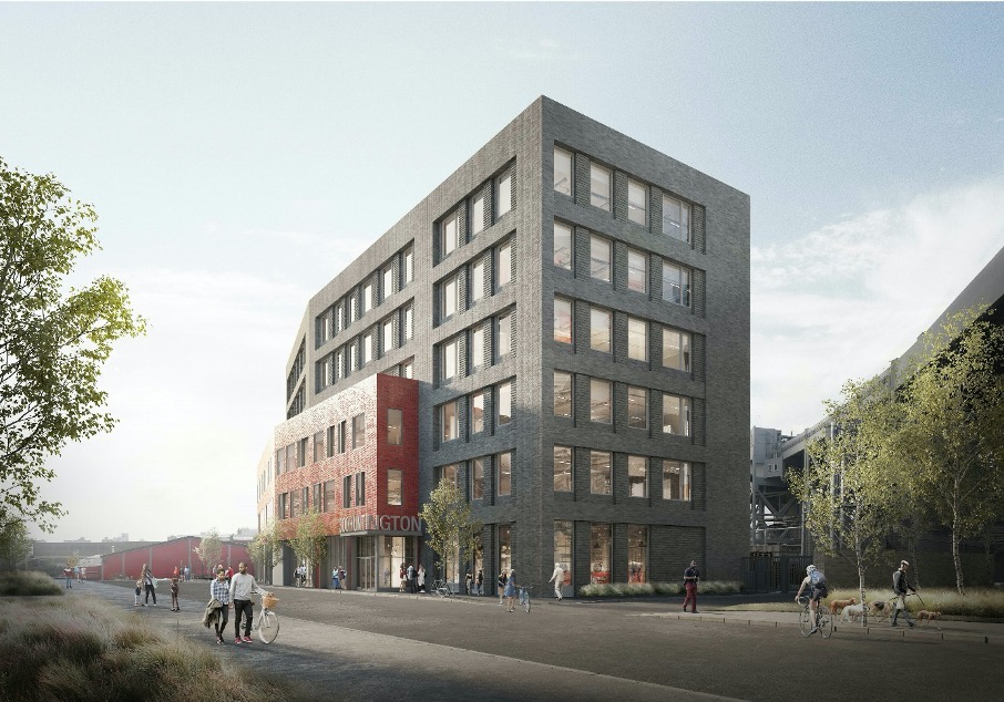 Rendering illustrates east-facing view of 300 Huntington Street - Monadnock Development
