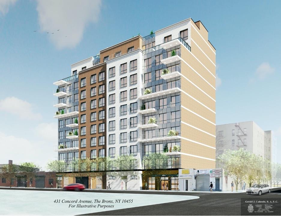 Rendering illustrates street-level view of 431 Concord Avenue - Gerald J. Caliendo Architect