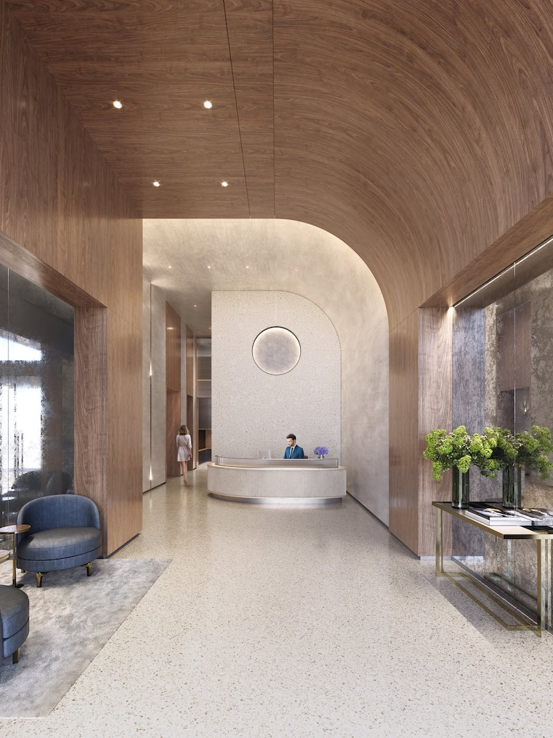 Rendering illustrates 212 West 72 Street lobby - Recent Spaces