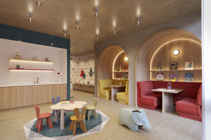 Rendering illustrates children's playroom at 212 West 72 Street - Recent Spaces