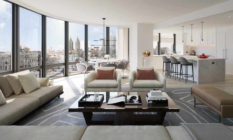 Rendering illustrates model living room at 212 West 72 Street - Recent Spaces