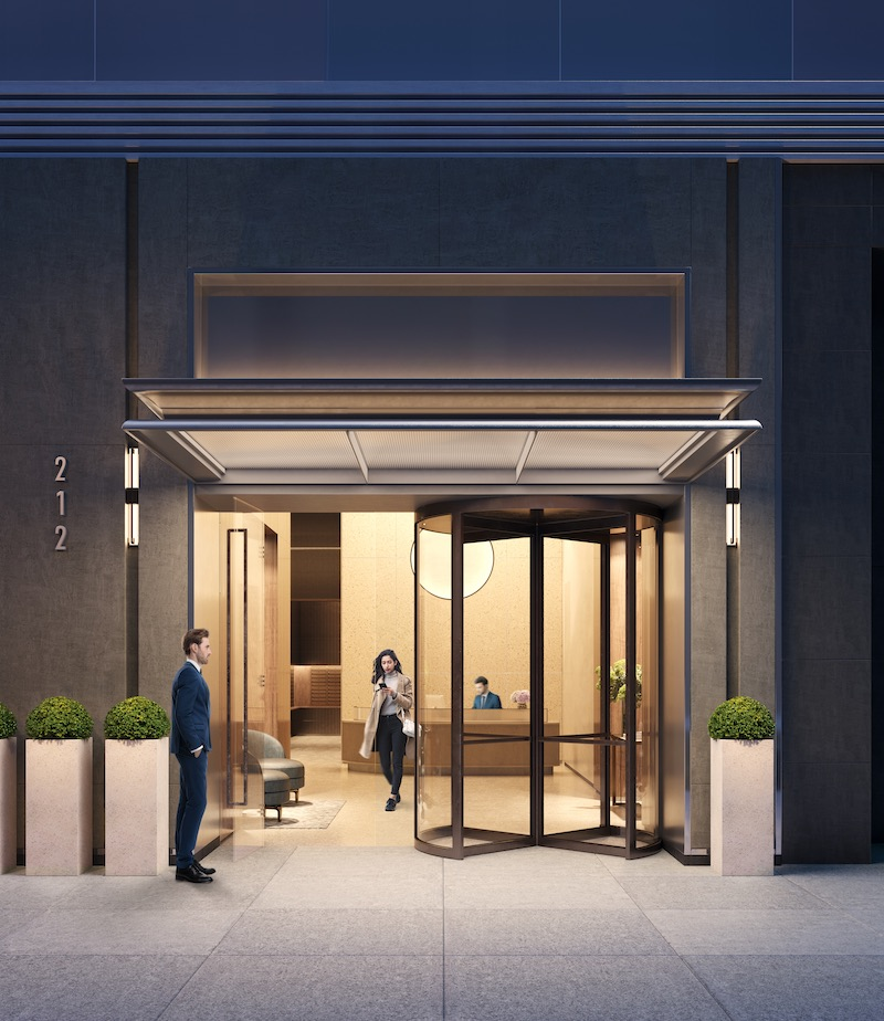 Rendering illustrates primary entrance at 212 West 72 Street - Recent Spaces