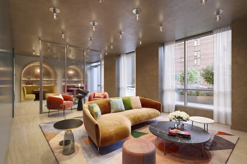 Rendering illustrates resident lounge at 212 West 72 Street - Recent Spaces