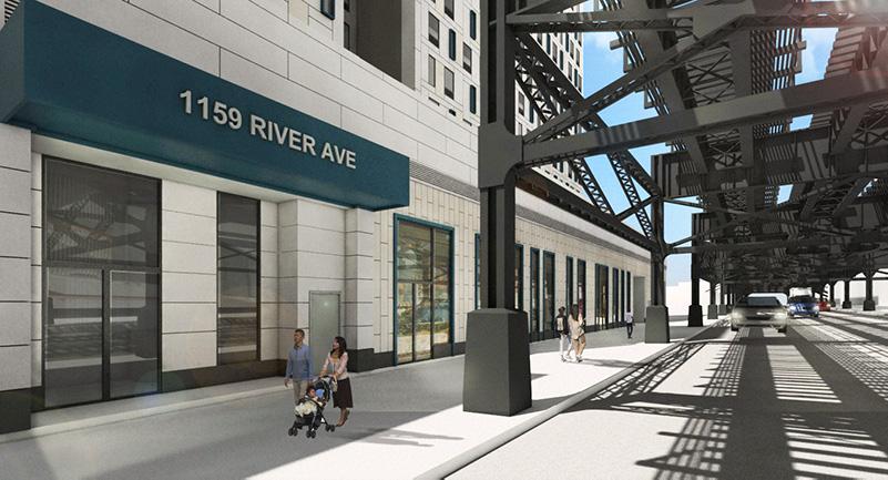 Rendering of 1159 River Avenue building entrance beneath 167th Street subway tracks - Urban Quotient