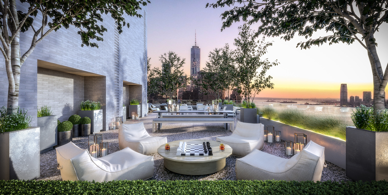 Rendering of Roof Deck at Greenwich West - Rendering by Familiar Control