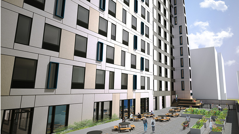 Rendering of outdoor terrace at1159 River Avenue - Urban Quotient