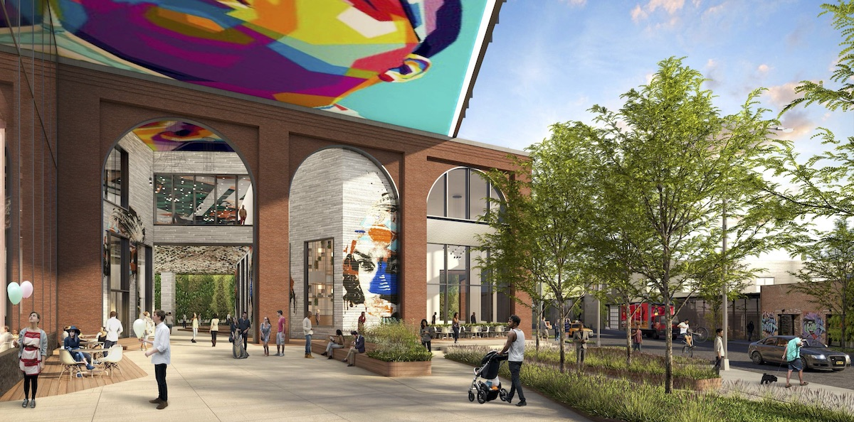 Rendering of entry plaza at the new ACME Smoked Fish industrial center