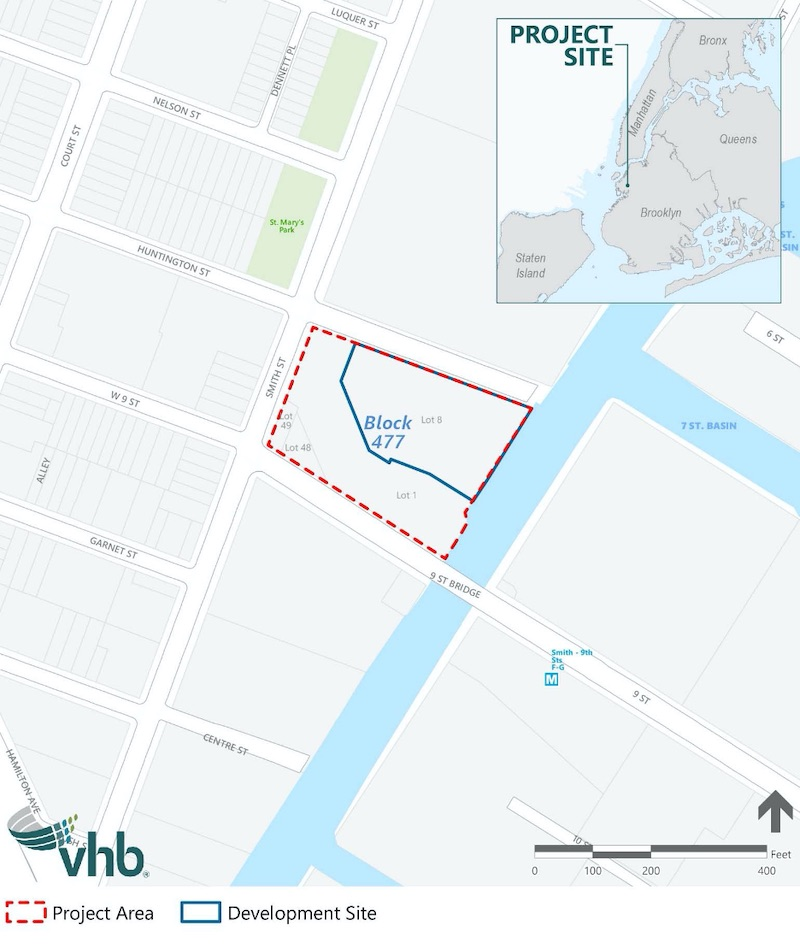 Site map illustrates 300 Huntington Street in blue and the surrounding site in red - VHB Engineering