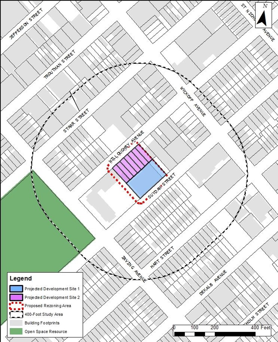 Site map of proposed developments at 1250 Willoughby Avenue and 349 Suydam Street - AECOM