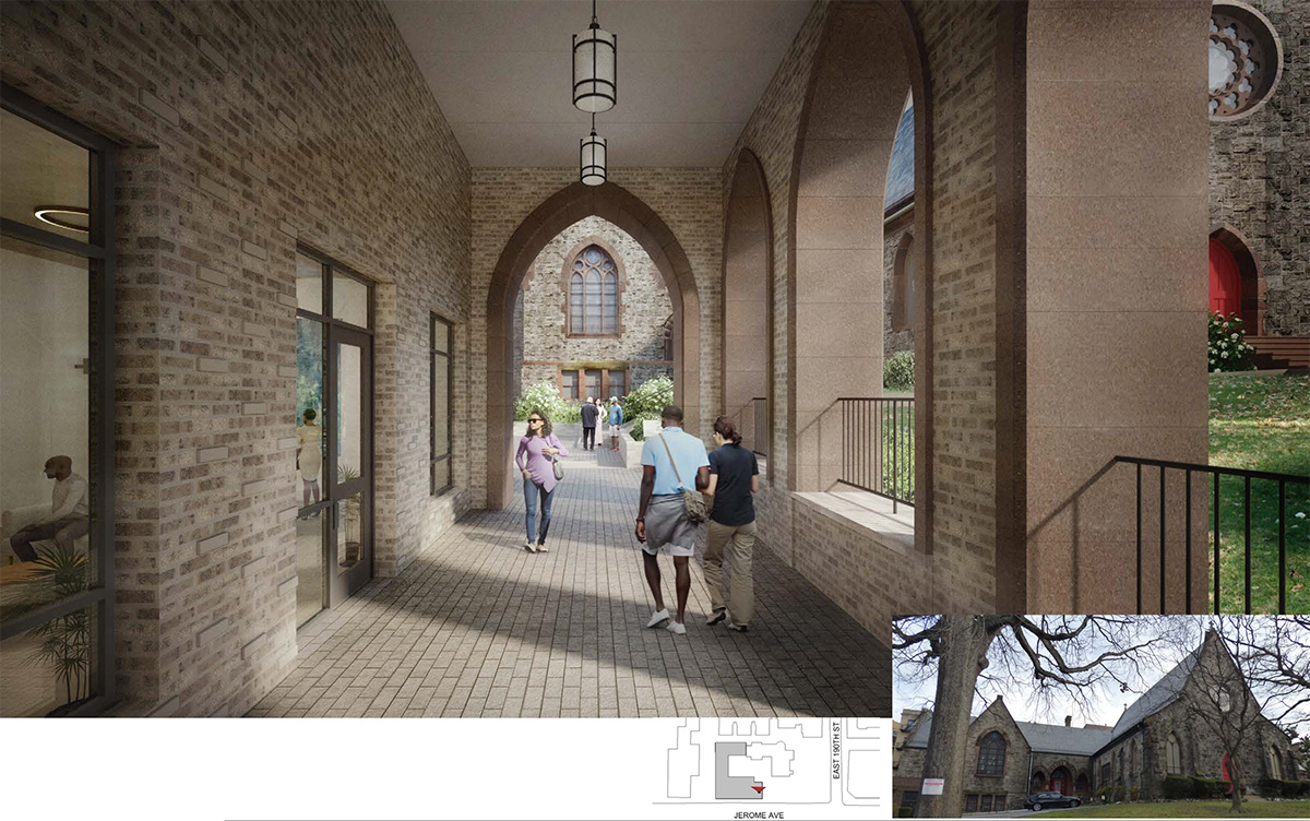 Rendering illustrates the Jerome Avenue pedestrian entry into the Episcopal St. James Church parish grounds - Dattner Architects