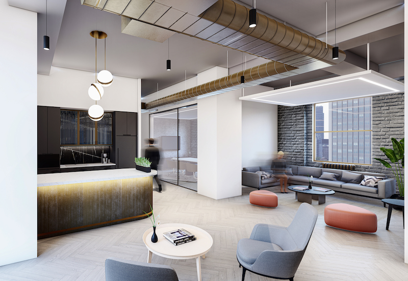 Rendering of 1501 Broadway office reception area - MKDA