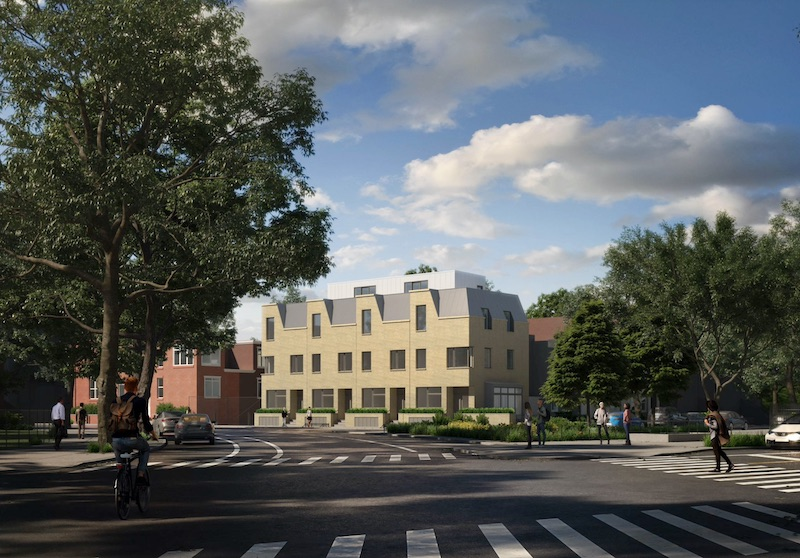 Rendering of townhouse development at 39 Chauncey Street - NV Design Architecture