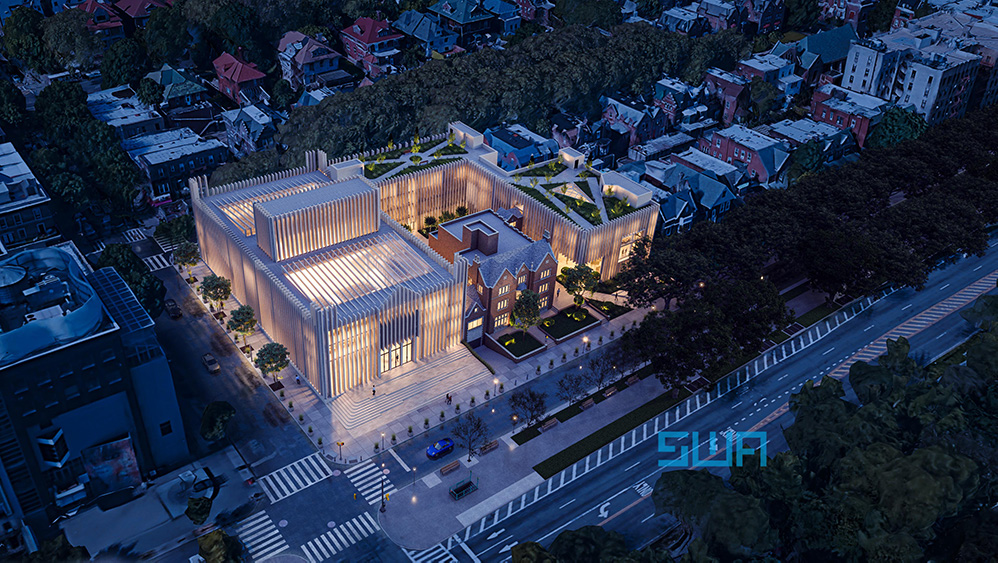 Aerial rendering of the Chabad Lubavitch World Headquarters expansion - S. Wieder Architect