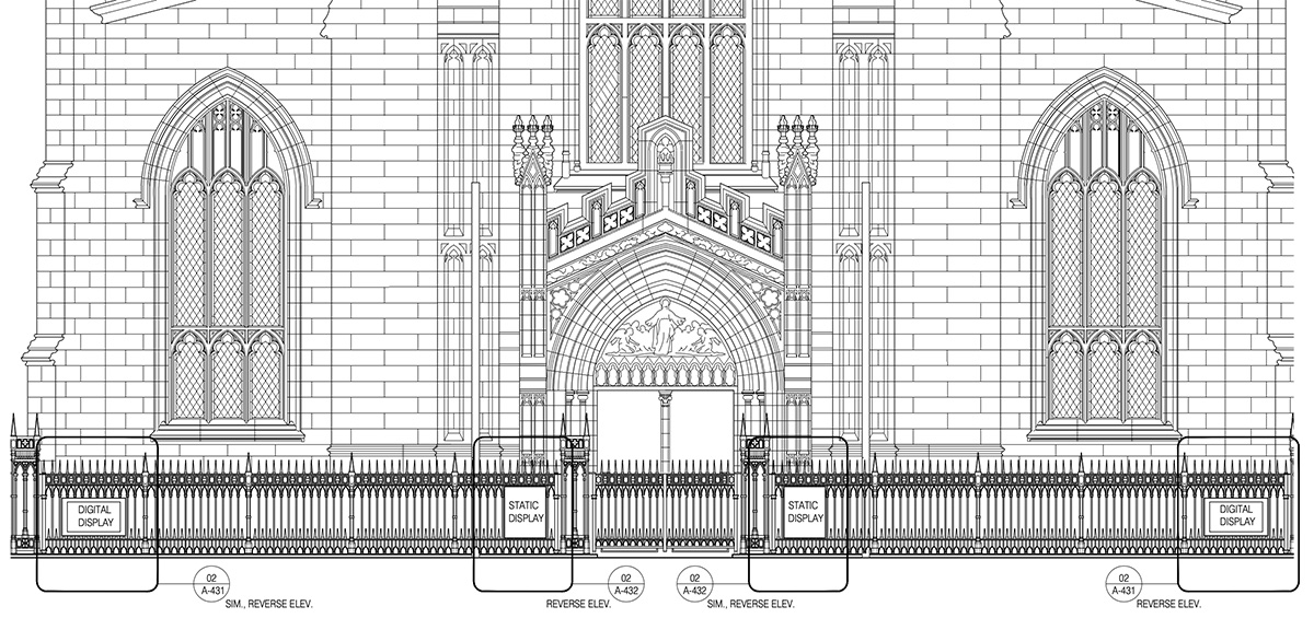 Architectural drawings illustrates proposed new signage outside Trinity Church - MBB