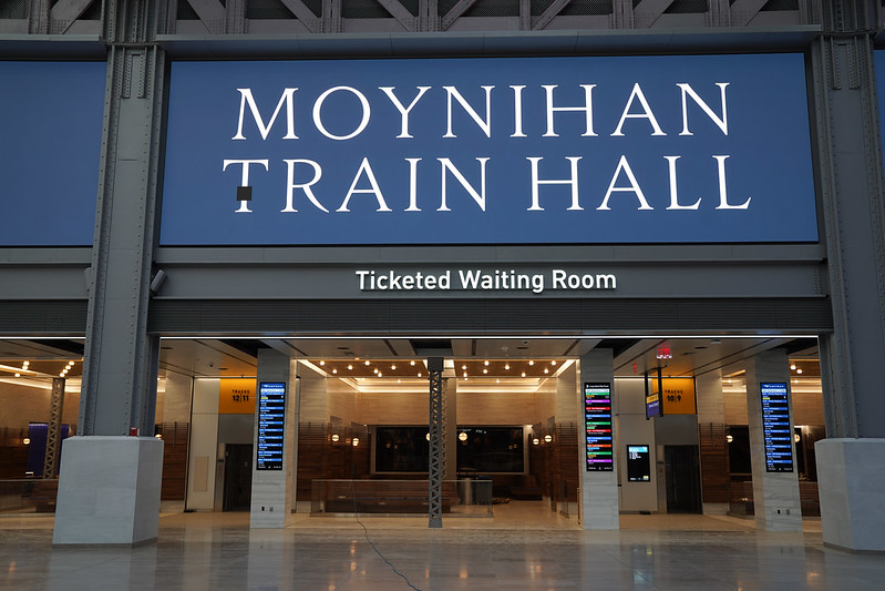Commuter waiting area at Moynihan Train Hall
