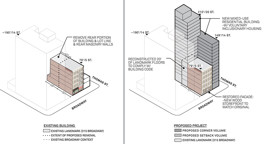 Elevation diagram illustrates existing (left) and approved massing (right) at 315-317 Broadway - Morris Adjmi Architects