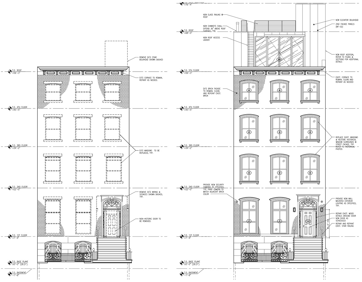 Elevation diagram illustrates existing (left) and forthcoming (right) alterations to the front elevation of 238 East 15th Street - Architects h2n