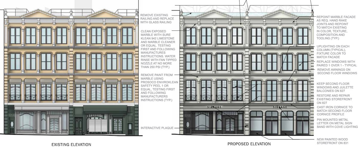 Elevation diagrams illustrates existing conditions (left) and proposed renovations (right) of 827-831 Broadway - DXA Studio
