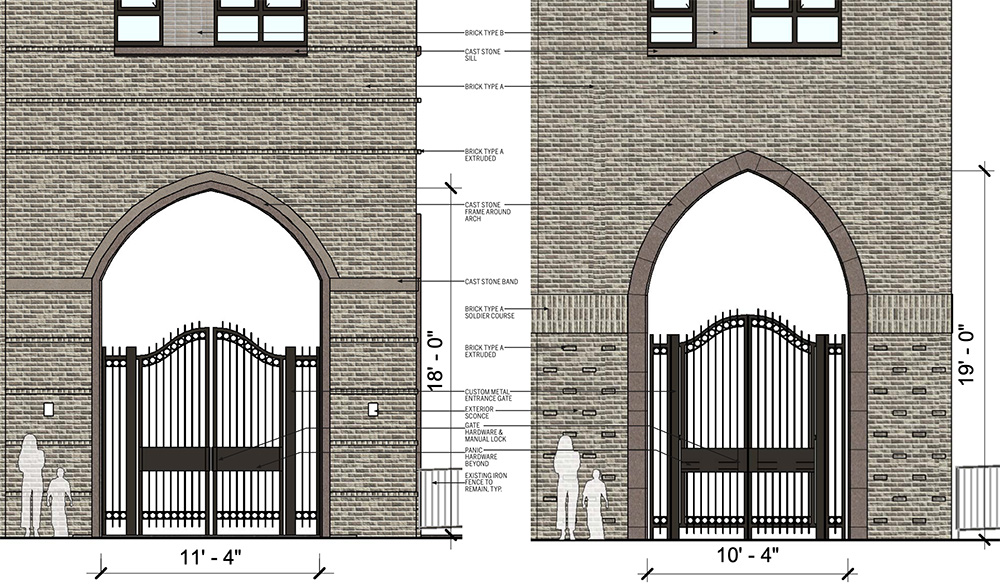 Elevation drawing illustrates the previous (left) and current (right) Jerome Avenue pedestrian entry into the Episcopal St. James Church parish grounds - Dattner Architects