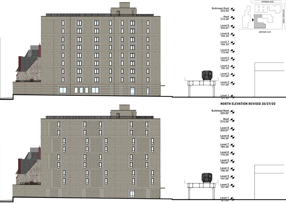 Elevation drawing illustrates the previous (top) and current (bottom) north elevation of the new residential building on the Episcopal St. James Church parish grounds - Dattner Architects