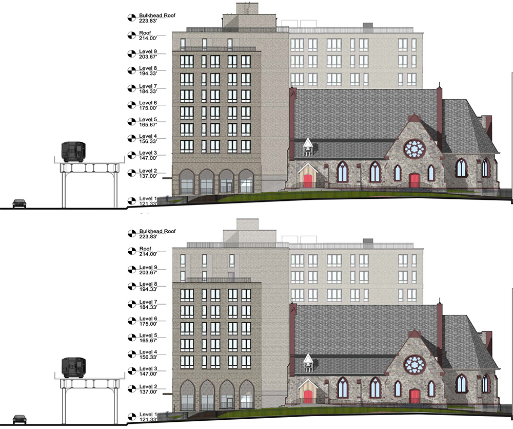 Elevation drawing illustrates the previous (top) and current (bottom) southern elevation of the new residential building on the Episcopal St. James Church parish grounds - Dattner Architects