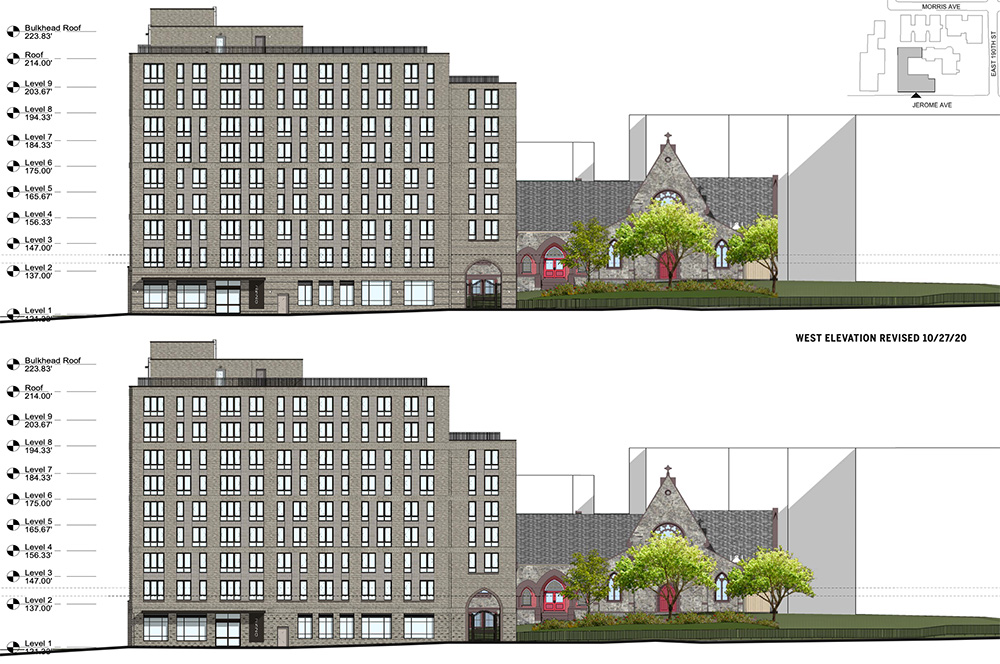 Elevation drawing illustrates the previous (top) and current (bottom) west elevation of the new residential building on the Episcopal St. James Church parish grounds - Dattner Architects