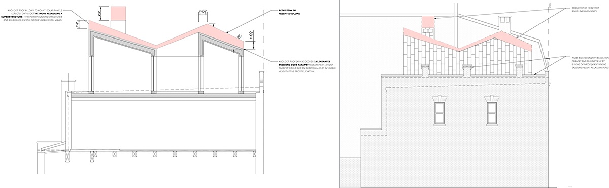 Elevation drawing illustrates the reduced roof height at 405 Vanderbilt Avenue - VonDalwig Architecture