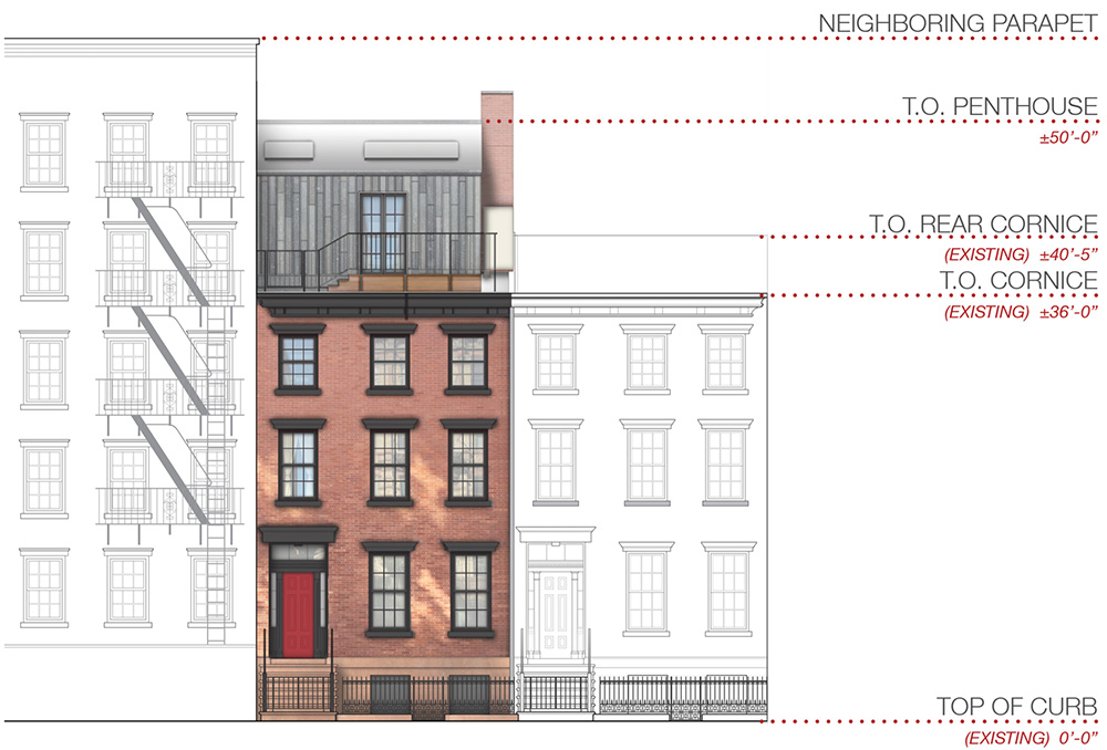 Front elevation (proposed) at 224 West 10th Street - DCP Architecture
