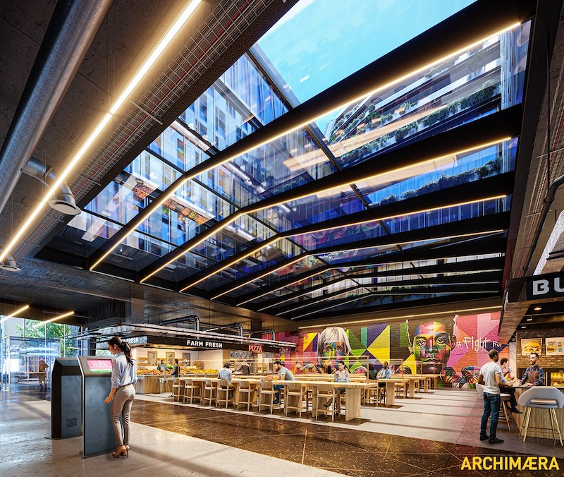 Ground floor dining areas at The Oasis - Archimera