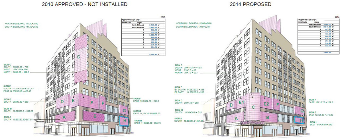 Illustration of previously approved signage at 1619 Broadway circa 2014- Marvel Architects