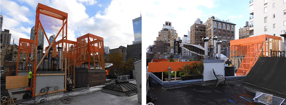 Physical, on-site mock-up of the penthouse addition at 107 East 64th Street - Pleskow Architects