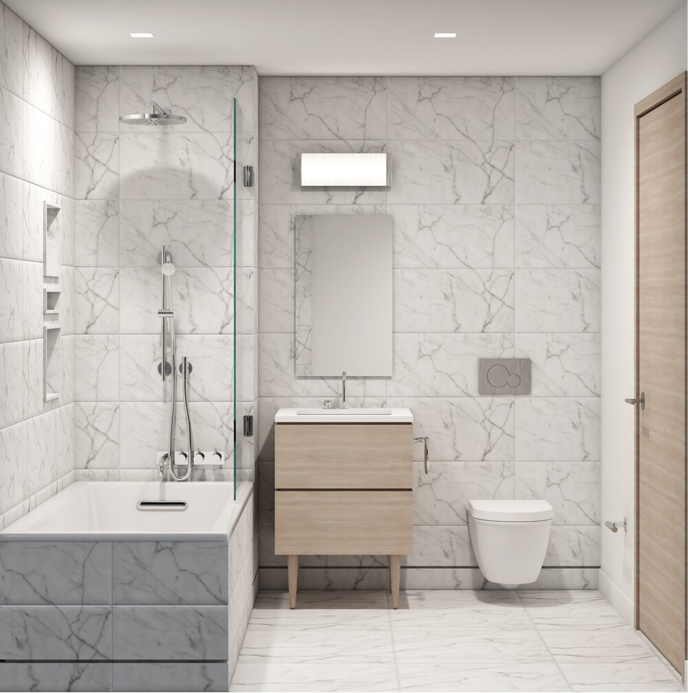Preliminary rendering of model bathroom at 324 East 93rd Street - Issac & Stern Architects