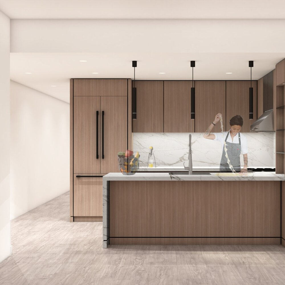 Preliminary rendering of model kitchen 324 East 93rd Street - Issac & Stern Architects