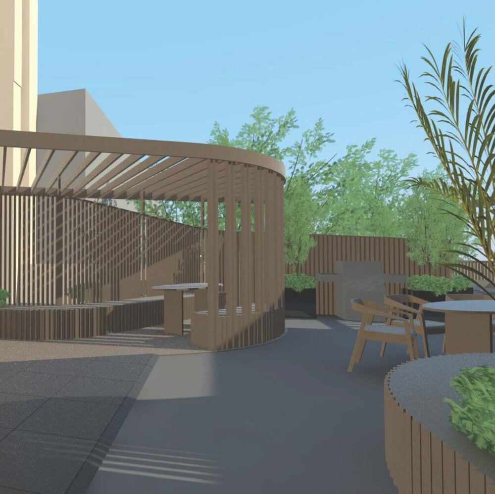 Preliminary rendering of outdoor recreational amenity spaces at 429 Tompkins Avenue - Issac & Stern Architects