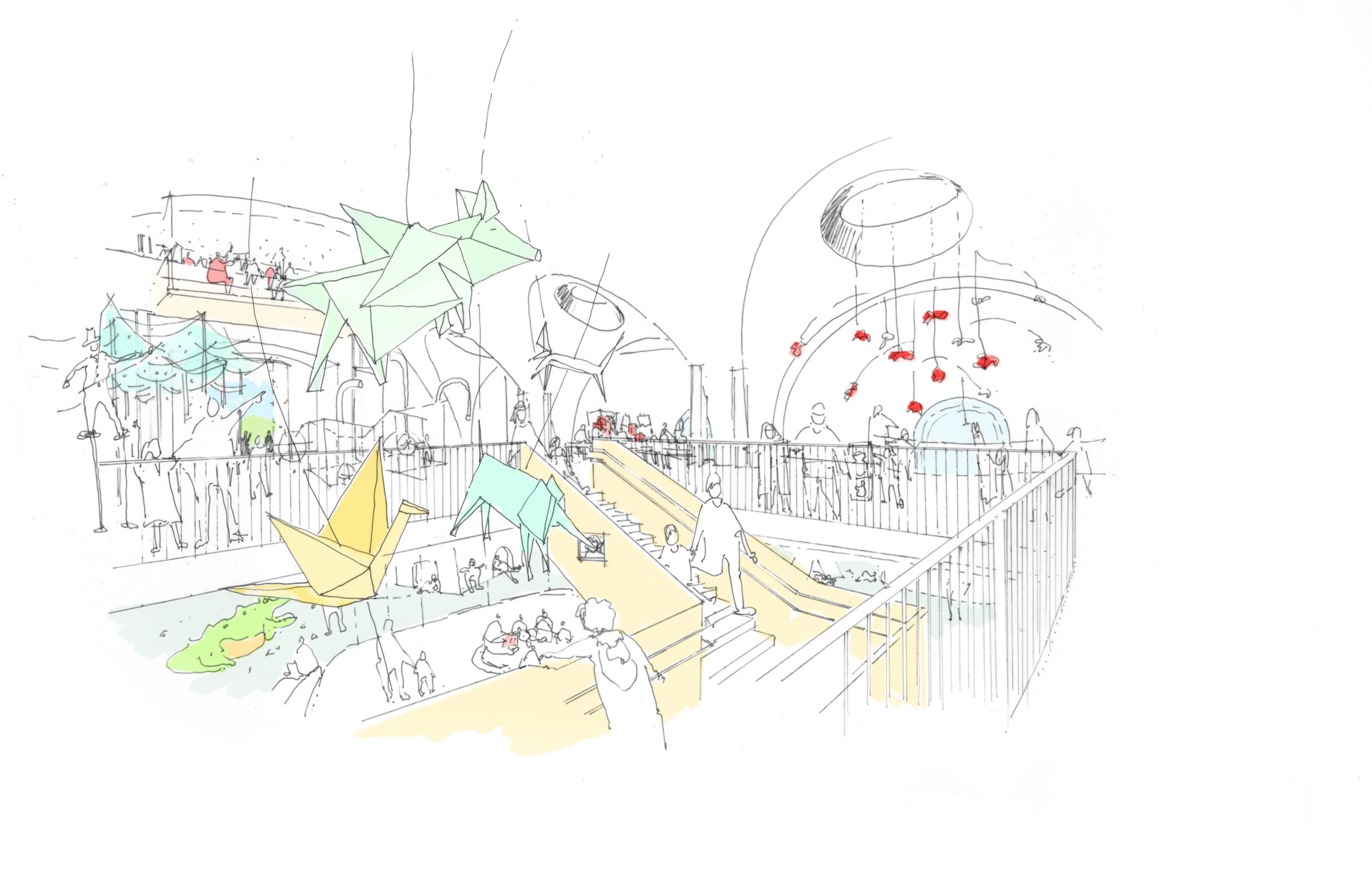 Preliminary sketch of programming within the new Children's Museum of Manhattan - FXCollaborative