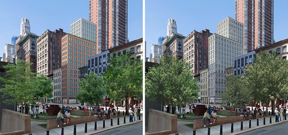 Previous (left) and updated (right) renderings of 315-317 Broadway - Morris Adjmi Architects