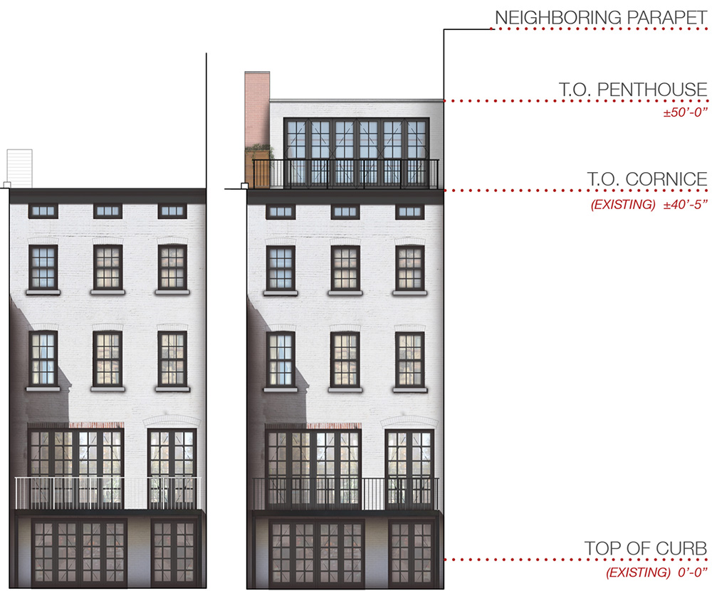 Rear view of existing (left) and proposed massing at 224 West 10th Street - DCP Architecture