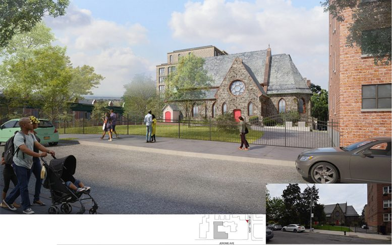Rendering illustrates the East 190th Street Elevation of the Episcopal St. James Church and proposed residential building - Dattner Architects