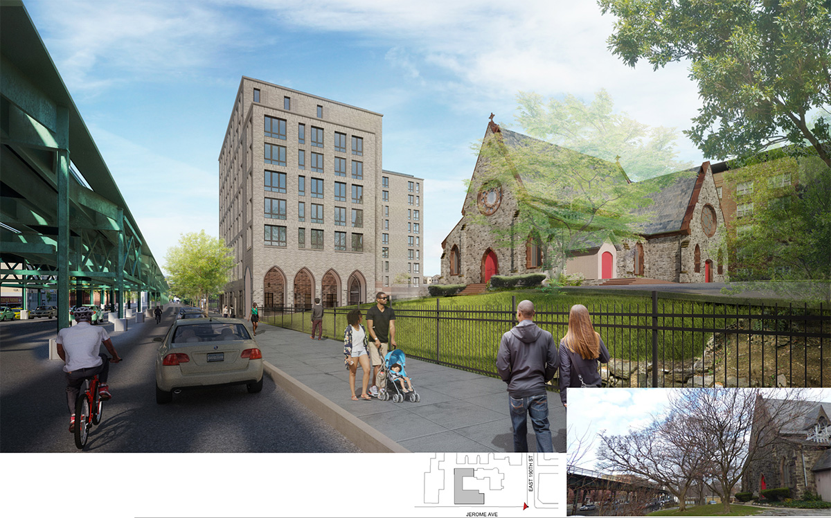 Rendering illustrates the Jerome Avenue elevation of the new building and the Episcopal St. James Church - Dattner Architects
