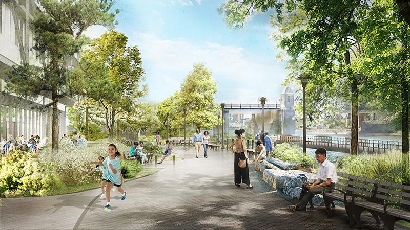 Rendering of Bronx Point esplanade - Marvel Architects